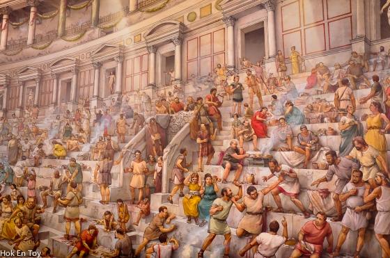 Lukisan kat dalam colesseum yang menceritakan zaman kegemilangan colesseum pada masa dahulu