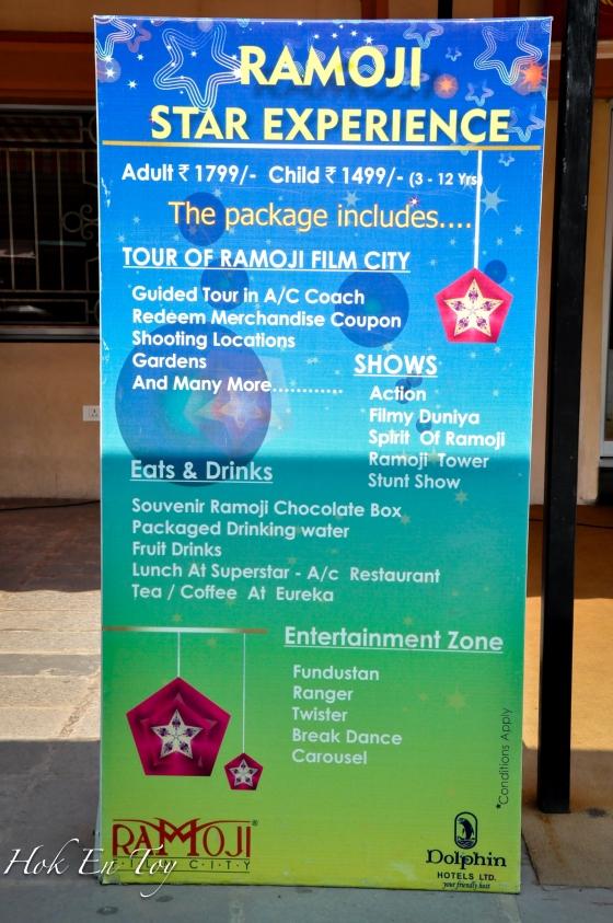 Harga tiket masuk ke Ramoji. Yang ni termasuk Pakej Lunch buffet